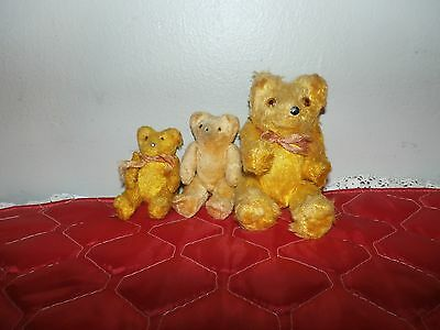 Lot of vintage gold color jointed Teddy Bear stuffed animal plush toy doll 1940