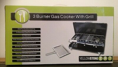 Yellowstone 3 Burner Gas Cooker With Grill For Camping Fishing Outdoors