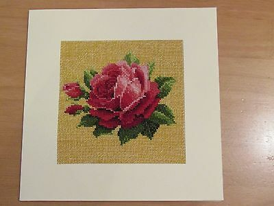 Ex Large Cross Stitch Card - Vintage Rose for any occasion - hand-stitched