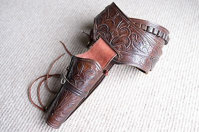 Western Fast Draw Gun Holster Rig Tooled Leather Right Hand