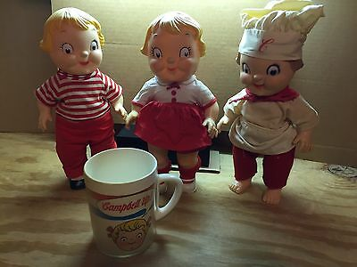Vintage 70's Campbell Soup Kids Dolls and Soup Cup