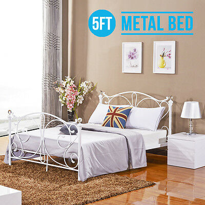 BN 5FT King Size White Metal Bed Frame Bedstead Cry Finials for Adult Children