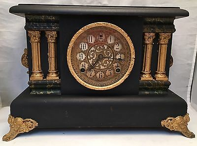 Antique 1908 Sessions Model Sorma 8-Day 4-Column Mantle Clock Cathedral Gong