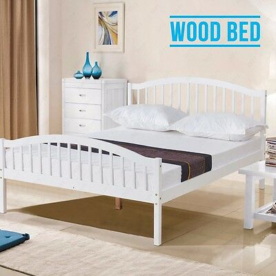 White Solid Pine Wood 4FT6 Double Bed Frame Natural Pine Bedroom Furniture