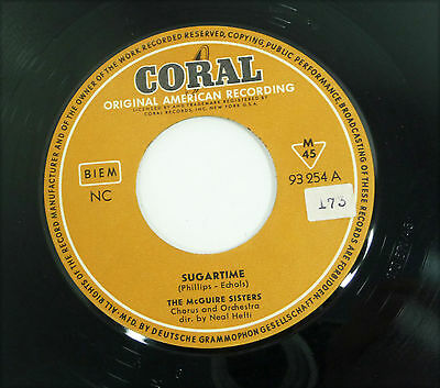 "THE McGUIRE SISTERS ""Sugartime / Banana Split"" german 50s Coral 45 7"" 1958"