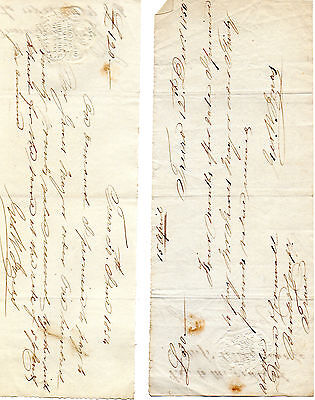 4 x Antique Promissory Notes dated 1850 - 1851 - 2 x 1854