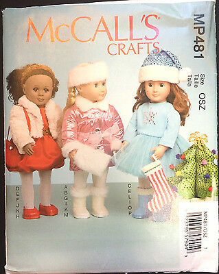"7300 McCalls 18"" Doll Clothes Holiday Winter Stocking Tree American Pattern UC"