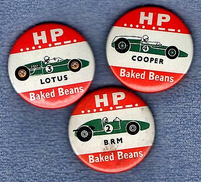 HP BAKED BEANS - BRITISH RACING CARS 1960s - SET OF 3 - PIN BUTTON BADGES