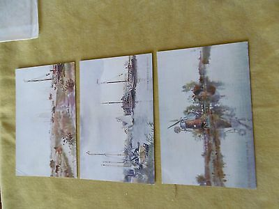 3 postcards of water colour painting on the Broads