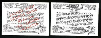 ARDATH Photocards No.145 Fred Perry Scarce Overprinted Card plus Normal