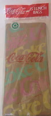 Coca-Cola Coke Logo Brown Paper Lunch Bags New 1991 Factory Sealed 25 Pac