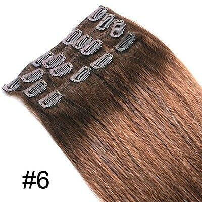 """UK STOCK 7PCS Clip In Remy Straight FULL HEAD Human Hair Extensions 70g 18"""" #6"""
