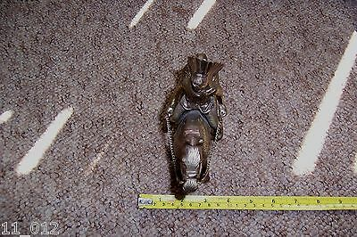 """Vintage unusual metal Native American Indian Chief on horseback approx 7"""" tall"""