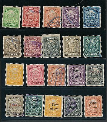 1898 - 1914 Nicaragua (42) DIFFERENT AS SHOWN; MH, UNUSED & USED; CV $28