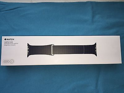 Genuine Apple Watch 42mm (L) Midnight Blue Leather Loop, Magnetic Closure Strap