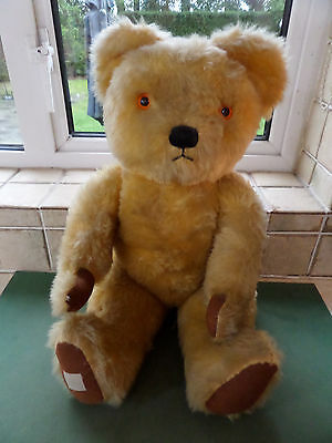 Adorable Vintage Chad Valley Golden Teddy Bear - Jointed - 1950s -  22ins Tall