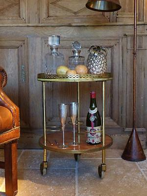 Round 1970's French bar cart with wood inlay