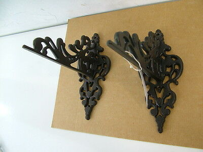 NOS Brocade Wrought Iron Pair Sconces Wall Hanging Brackets