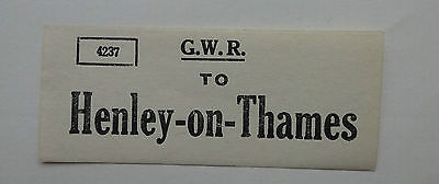 Small Great Western Railway (Gwr) Luggage Label To Henley-On-Thames