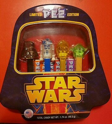 New Star Wars Limited Edition Set of 4 PEZ Dispensers and Collector Tin