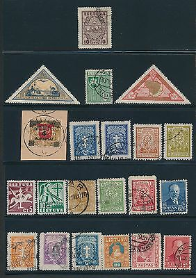 1919 - 1940 Lithuania (21) ALL DIFFERENT AS SHOWN; MH & USED; CV $28