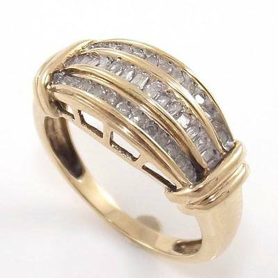 Solid 10K Yellow Gold Natural Diamond Band Ring Size 7.5