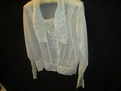 Vtg antique Victorian ladies embroidered top bodice blouse collar inset lace l