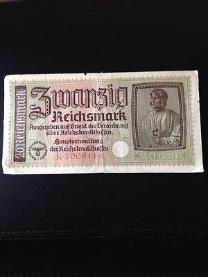 WW2 German 20 Reichsmark Banknote with Printed and Embossed Eagle and Swastica's