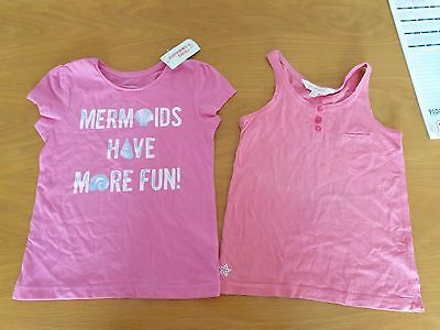 2 lovely summer tops Mermaid is NEW & other pink 5-6yrs