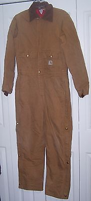 Carhartt Brown Jumpsuit Duck Coveralls Insulated Size XL