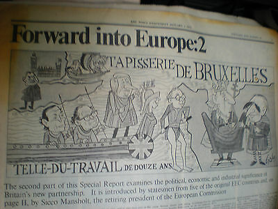 3 old newspapers on Britain's entry to EU in 1970s