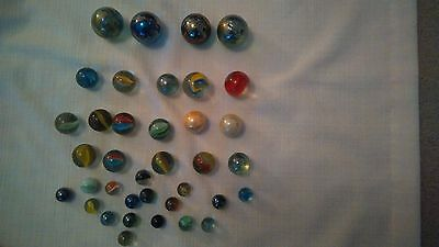 37 glass marbles vintage/retro assorted sizes, colours and designs used