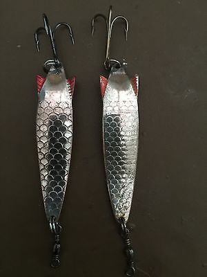 Vintage Abu Toby Lures 2 X Silver / Kopper . 10g. Used.
