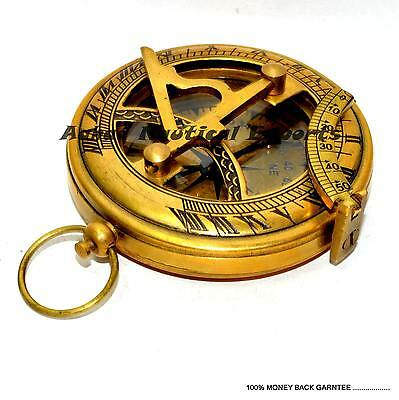 Antique-Nautical-SUNDIAL-COMPASS-Solid-Brass-Vintage-Maritime-Reproduction