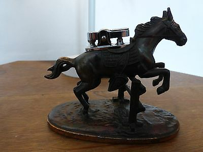 Vintage/retro Copper Table Lighter In The Form Of A Show Jumping Pony