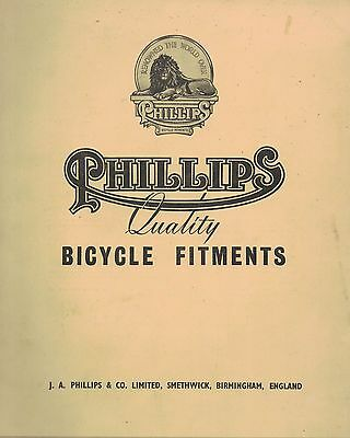 PHILLIPS QUALITY BICYCLE FITMENTS spare parts brochure  68 pages ex circa 1930s