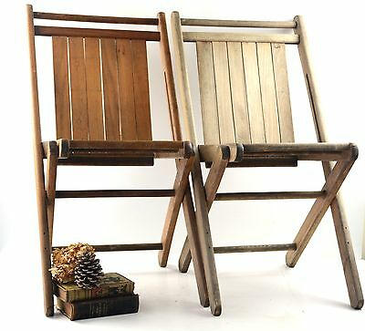 Set of 2 Antique Vtg Weathered Oak Wooden Folding Chairs Slatted Seat Patio Lot