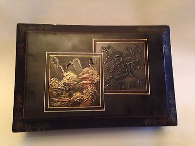 Antique Japanese Wooden Box Lacquered With Paining On Lid