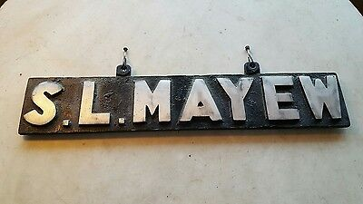 Old  S.L.MAYEW Cast Aluminum Industrial Professional Business Advertising Sign
