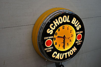 """A 22"""" School Bus  Neon Advertising  clock. by Curtis"""