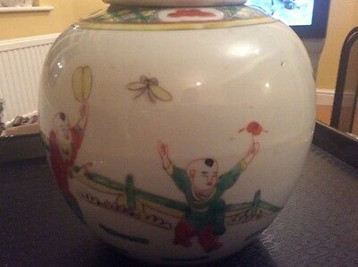 unusual  hand painted chinese ginger jar