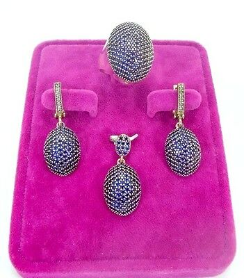 925 Sterling Silver Handmade Jewelry Pave Blue Sapphire Full Sets