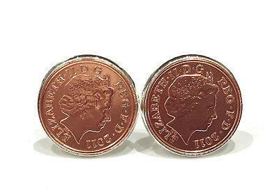 2011 7th Copper wedding anniversary cufflinks - Copper 1p coins from 2011
