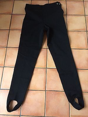 Ladies Black retro 80s ski pants stirrup leggings high waist fit UK12 C&A
