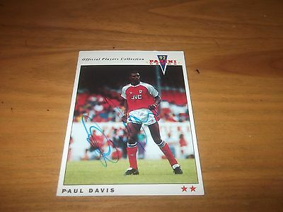 Panini 92 Paul Davis Arsenal Signed Card