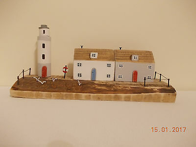 Hand Made Driftwood Cottages Lighthouse Ornament Gift Shabby Chic