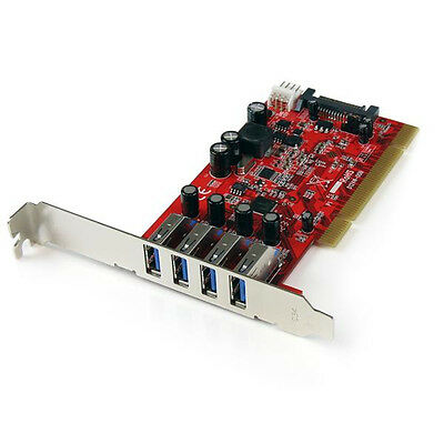 StarTech.com 4 Port PCI SuperSpeed USB 3.0 Adapter Card with SATA / SP4 Power PC