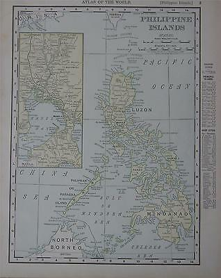 1898 Philippine Islands Antique Dated Color Atlas Map* ...119 years-old!