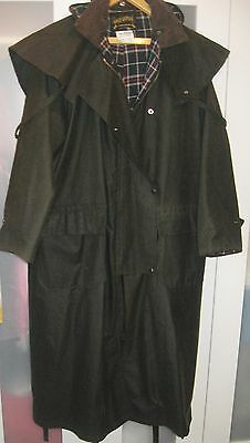New - Long Length Waxed Cotton Stockmans Riding Coat - Large Size