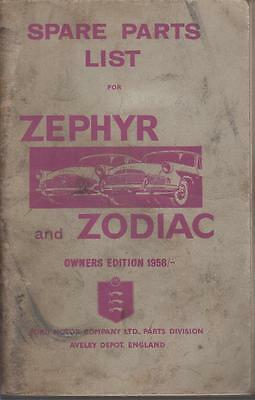 Ford Zephyr & Zodiac Mk2 Saloon Convertible Orig. Owners Illustrated Parts List